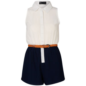 Club L Women's Belted Chiffon Playsuit - Cream/Navy