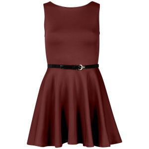 Influence Women's Belted Scuba Skater Dress - Wine