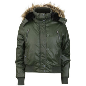 Brave Soul Women's Hooded Bomber Jacket with Fur Trim - Forest Green