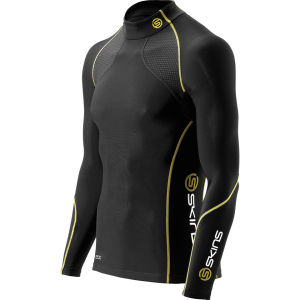 Skins Men's A200 Thermal Long Sleeve Top - Mock Neck - Black/Yellow
