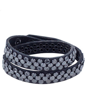 Markberg Lulu Studded Leather Bracelet - Black/Gunmetal