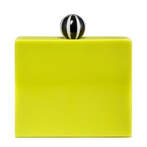 Lulu Guinness Chloe Perspex Humbug Clutch Bag - Chartreuse