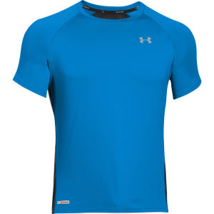 Under Armour Men's HG Flightweight Run Short Sleeve T-Shirt - Electric Blue/Black/Reflective