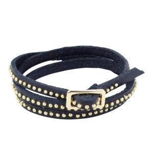Markberg Marissa Studded Buckle Leather Bracelet - Black/Gold