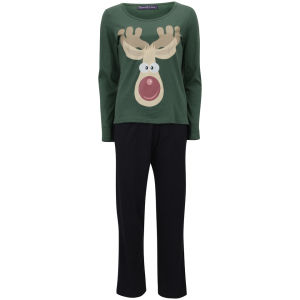 Tom Franks Women's Christmas Pyjamas - Green Rudolf