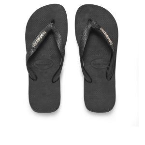 Havaianas Women's Logo Metallic Flip Flops - Black