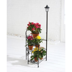 Fleur-de-lys 3 Tier Corner Plant Stand with Solar Light - Black