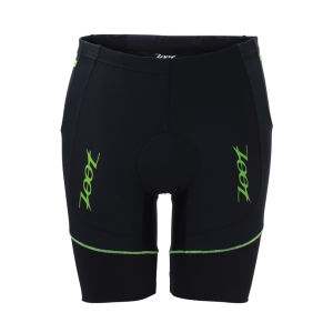Zoot Men's Performance Triathlon 8 Inch Shorts - Black/Green Flash