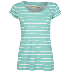 Brave Soul Women's Jasmin T-Shirt - Sea Green/White