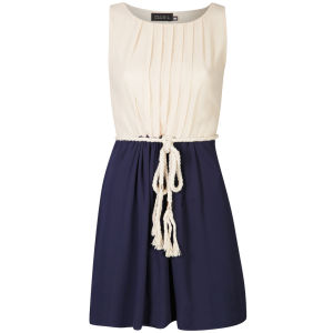 Club L Women's Colour Block Dress With Rope Belt - Cream/Navy