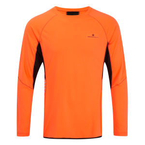 RonHill Men's Vizion Long Sleeve Crew Neck Top - Black/Fluorescent Orange