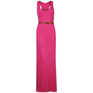 Influence Women's Racer Back Maxi Dress With Belt - Hot Pink