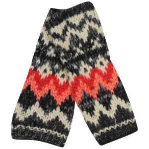 Women's Patterned Hand Warmers - Red & Black