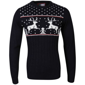 Christmas Branding Reindeer Knitted Jumper - Dark Navy