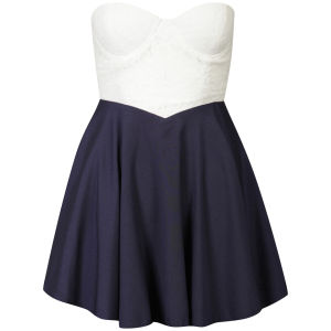 Club L Womens Sweetheart Neck Line Bandeau Dress - White/ Navy