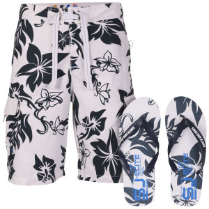 Smith & Jones Aniani Men's Swim Shorts and Flip Flops - White