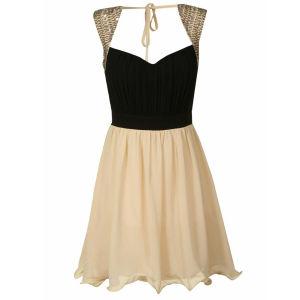 Little Mistress Women's Embellished Shoulder Prom Dress - Black/Cream