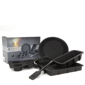 Hell's Kitchen 5pc Silicone Baking Set in Colour Box - Black