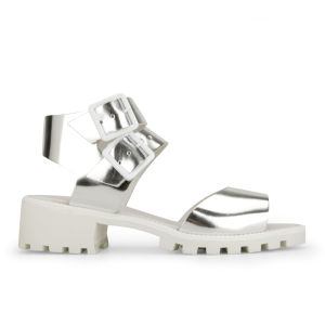 Miista Women's Patti Metallic Leather Sandals - Silver