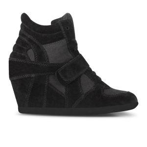 Ash Women's Bowie Suede Hi-Top Wedged Trainers - Black