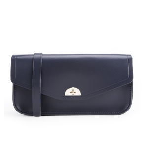 The Cambridge Satchel Company Leather Clutch Bag with Shoulder Strap - Navy