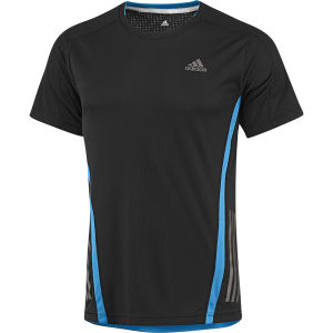 adidas Men's Supernova Running Short Sleeve Tee Shirt - Black/Solar Blue