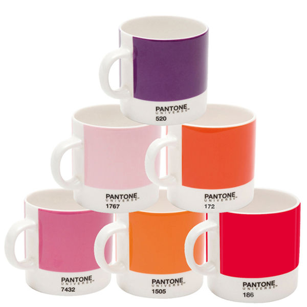 Pantone Universe Set of 6 Espresso Cups - Mixed Reds