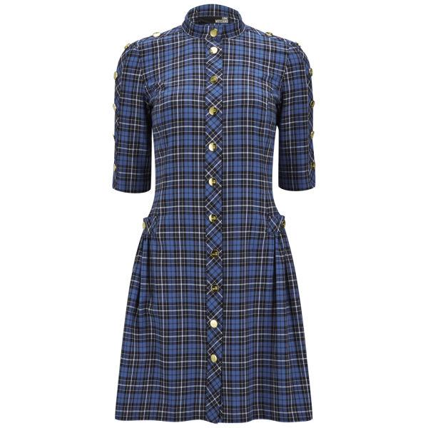 Love Moschino Women's Buttoned Tartan Dress - Blue Check