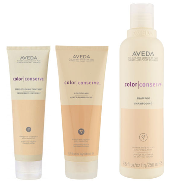 Trío Aveda Colour Conserve - champú, acondicionador y crema Strengthening Treatment