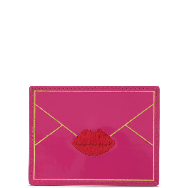 Lulu Guinness Patent Envelope Card Holder - Shocking Pink