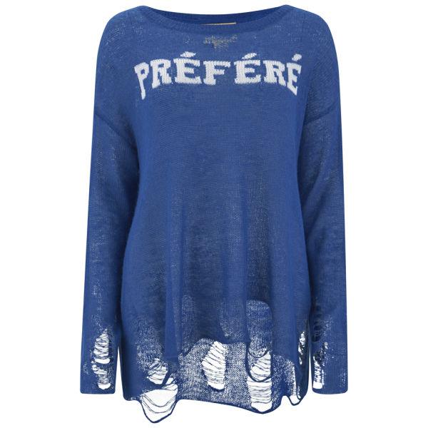 Wildfox Women's Distresses Fine Loose Knit Sweatshirt - Nocturnal
