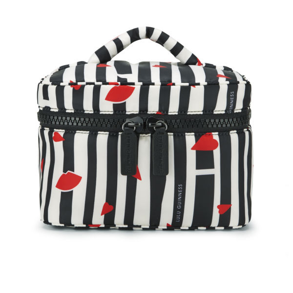 Lulu Guinness Lips and Stripes Vanity Case - Black/White/Red