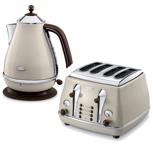 De Longhi Icona Vintage 4 Slice Toaster And Kettle Bundle