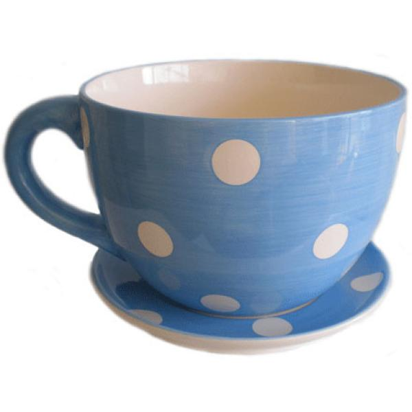 Giant Blue And White Spot Tea Cup And Saucer Planter Great Gift Unique Gifts