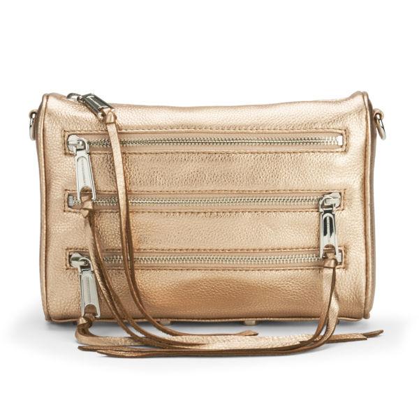 Rebecca Minkoff Women's Mini 5 Zip Metallic Leather Cross Body Bag - Rose Gold