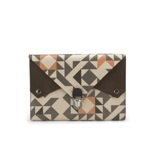 Kate Sheridan Graphic Print Tuck Tite Leather Clutch Bag - Multi