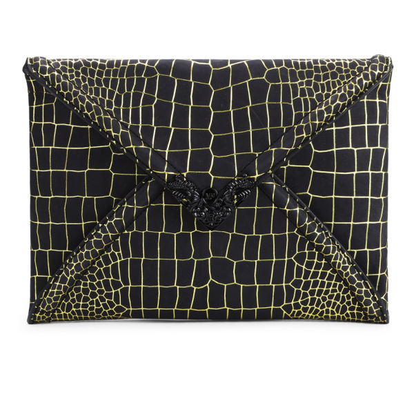 McQ Alexander McQueen Leather Snake Clutch - Citrus/Black