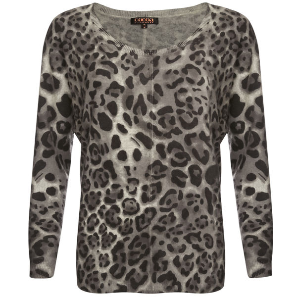 Cocoa Cashmere Women's Animal Print Jumper - Grey