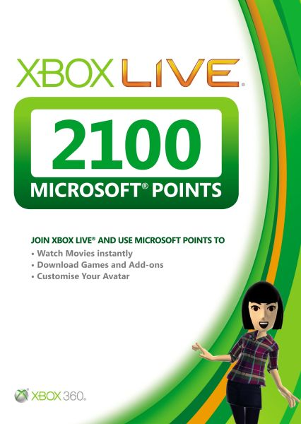 Xbox Live 2100 Pts Card Games Accessories Zavvi