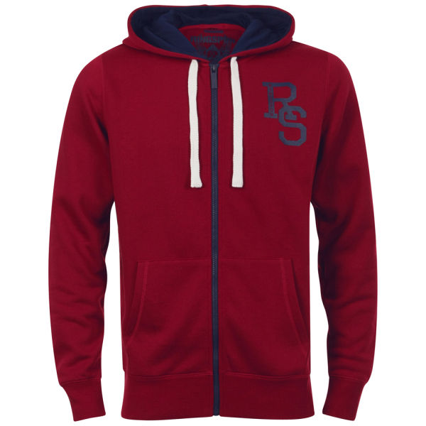 Ringspun Men's Devil's Acre Zip Through Hoody - Red/Navy