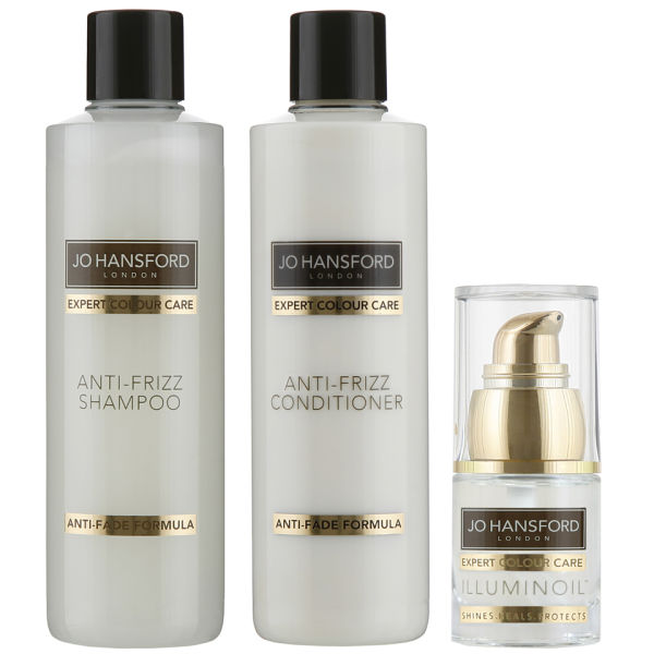 Jo Hansford Expert Colour Care Anti-Frizz Shampoo, Conditioner (250 ml) mit Mini Illuminoil (15 ml)