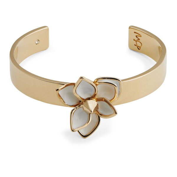 Maria Francesca Pepe Flower/Studded Thin Cuff - Gold/White