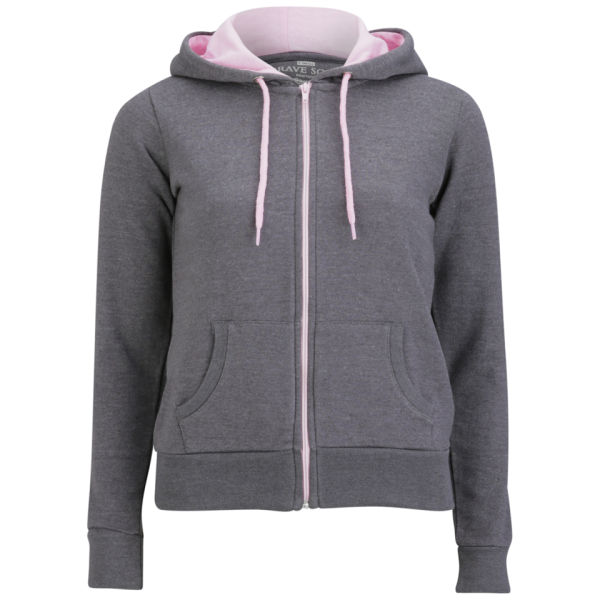 Brave Soul Women's Adrian Zip Through Contrast Hoody - Charcoal/Pastel Pink