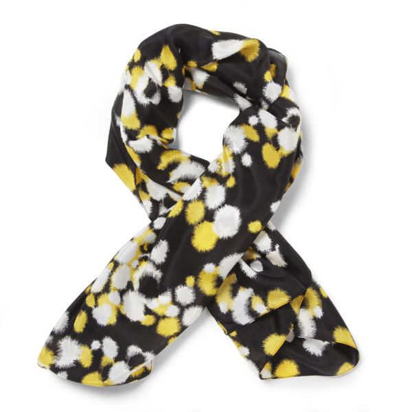 French Connection Women's Isabella Silk Multi Scarf - Black/Citronella/Multi