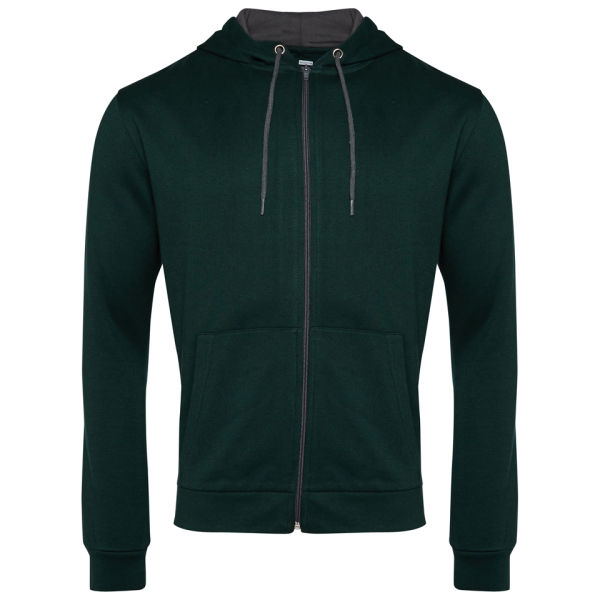 Brave Soul Men's Rafter Contrast Zip Through Hoody - Ivy Green/Charcoal