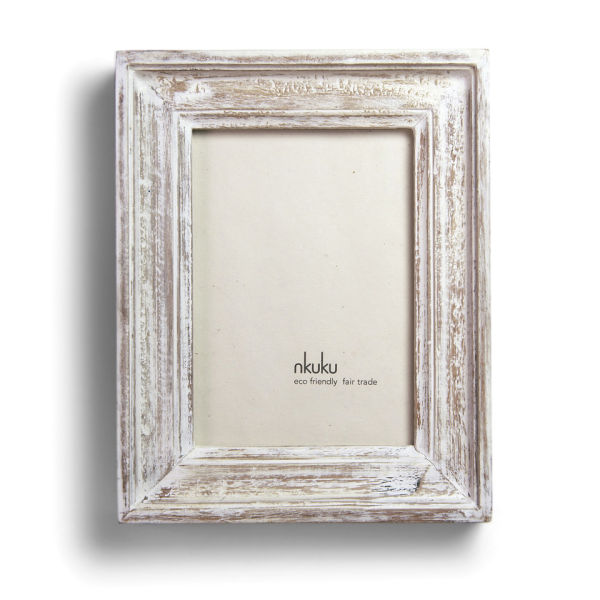White Wood Frame : Antique White Frame Nkuku jaisalmer antique white wood frame - 6 x 4 ...