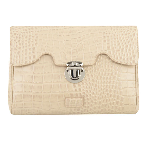 OSPREY LONDON Tango Croc Leather Clutch Bag - Cork