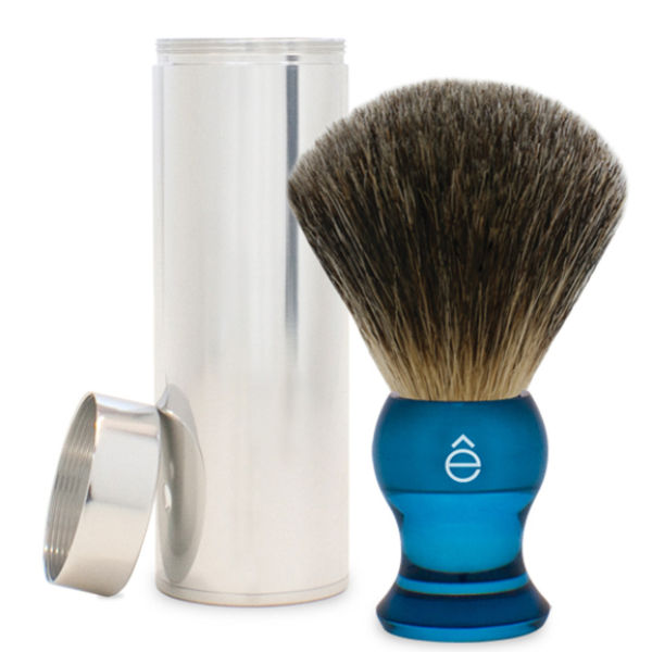 eShave Travel Fine Badger Hair ShavingBrush med behållare (Blå)