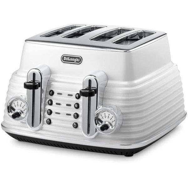 De'Longhi CTZ4003 Scultura 4 Slice Toaster - White Gloss