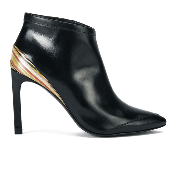 Paul Smith Shoes Women's Gia Leather Pointed Toe Heeled Ankle Boots - Black Silvia/Mini Swirl Natural